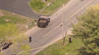 The scene of a crash in Salisbury, Massachusetts, on Thursday, May 13, 2021.