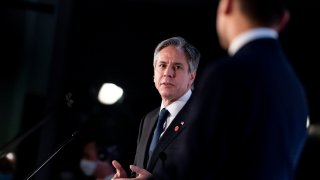 Secretary of State Antony Blinken, accompanied by Italy's Foreign Minister Luigi Di Maio, speaks during a news conference at Fiera Roma in Rome, Monday, June 28, 2021. Blinken is on a week long trip in Europe traveling to Germany, France and Italy.