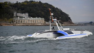The Mayflower 400 autonomous trimaran is pictured during a sea trial in Plymouth, England, on April 27, 2021.