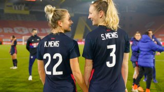 This Nov. 27, 2020, file photo shows sisters Kristie Mewis and Samantha Mewis of the United States celebrate together after their win over the Netherlands at Rat Verlegh Stadion in Breda, Netherlands.