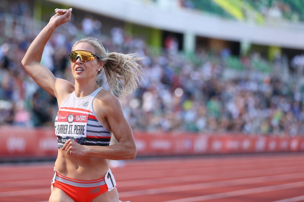 Elle Purrier St. Pierre crosses the finish line to win the Women's 1500 Meters Final during day four of the 2020 U.S. Olympic Track & Field Team Trials at Hayward Field on June 21, 2021 in Eugene, Oregon.
