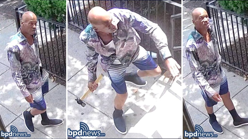 Police handout images of a man wanted in a hammer attack in Boston's Dorchester neighborhood