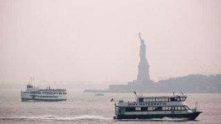wildfire smoke statue of liberty