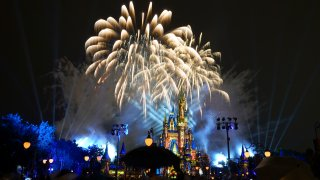 fireworks fill the sky at the Magic Kingdom at Walt Disney World