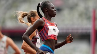 Athing Mu, of United States, wins a heat in the women's 800-meter run
