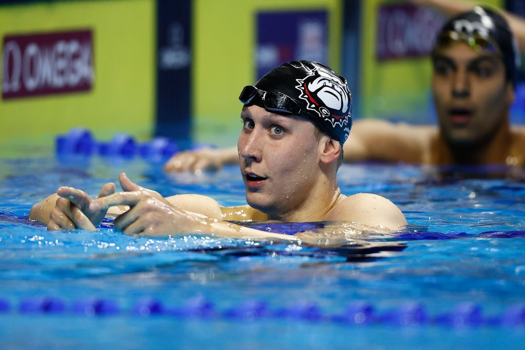 Chase Kalisz of the United States reacts after competing in a semifinal heat for the Men's 200m individual medley during Day Five of the 2021 U.S. Olympic Team Swimming Trials at CHI Health Center on June 17, 2021 in Omaha, Nebraska.