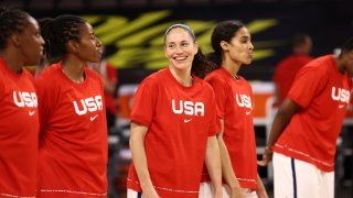 Sue Bird #6 of the USA Basketball Women's National Team smiles before the game against the Nigeria Women's National Team on July 18, 2021 at Michelob ULTRA Arena in Las Vegas, Nevada.