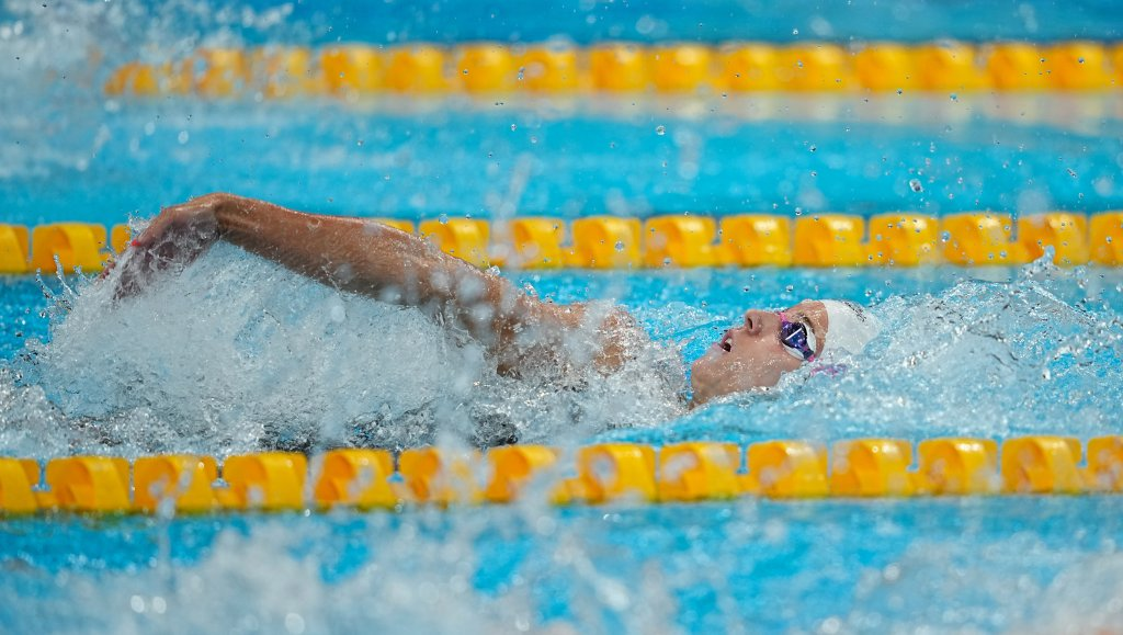 Regan Smith competes during the women's 100m backstroke preliminaries at the Tokyo Aquatics Center, July 25, 2021, in Tokyo.