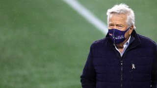 This Nov. 15, 2020, file photo shows New England Patriots owner Robert Kraft before the game between the Patriots and the Baltimore Ravens at Gillette Stadium in Foxborough, Massachusetts.