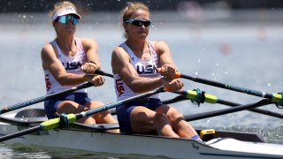 Kristina Wagner and Gevvie Stone of Team United States compete during the Women's Double Sculls Heat 1 on Day 0 during the Tokyo 2020 Olympic Games