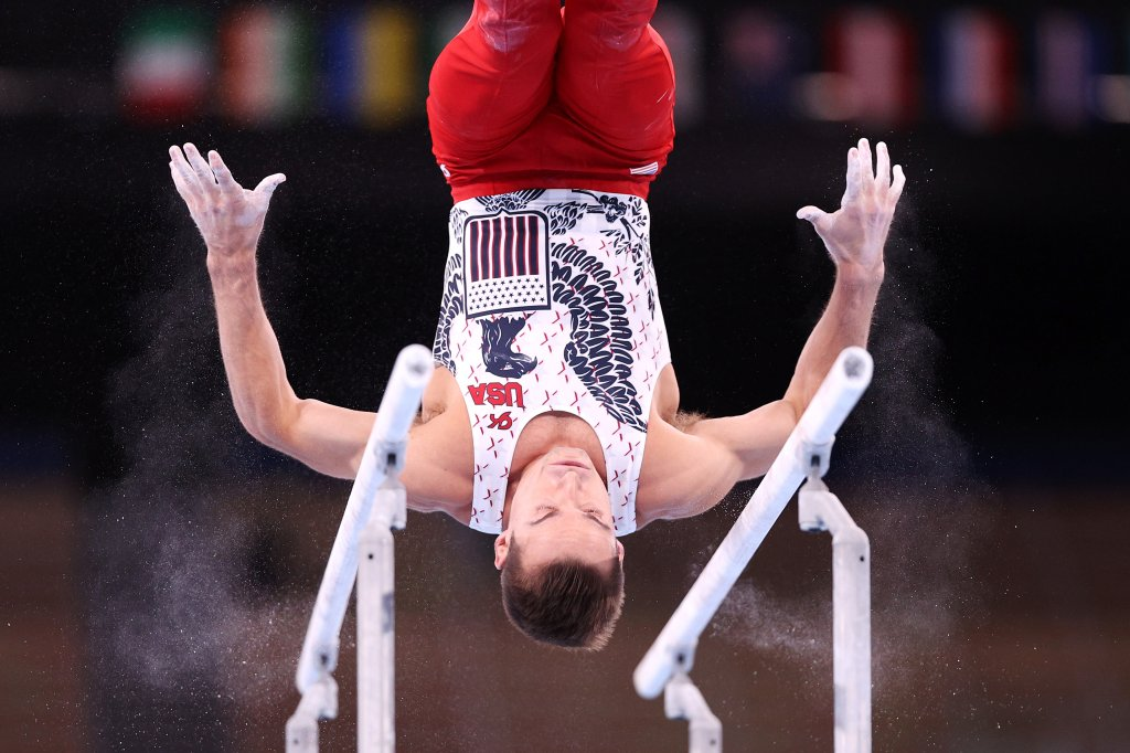 Samuel Mikulak of Team USA competes on parallel bars during Men's Qualification on day one of the Tokyo 2020 Olympic Games at Ariake Gymnastics Centre on July 24, 2021 in Tokyo, Japan.