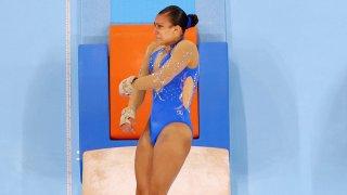 Luciana Alvarado competes on vault at the Tokyo Olympics