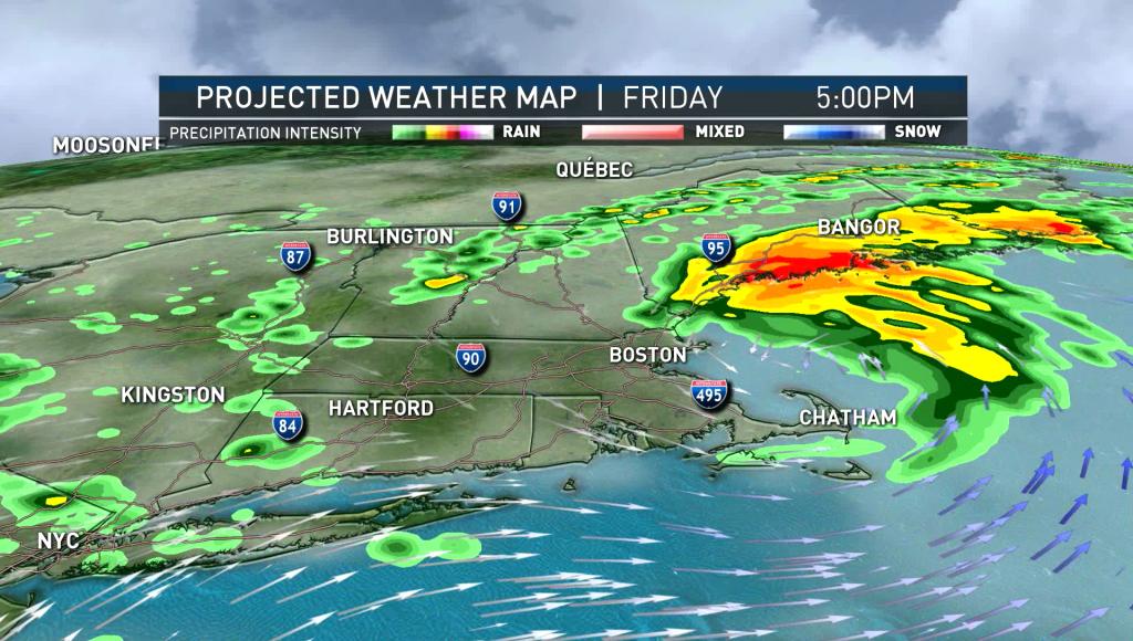 Tropical Storm Elsa passing over New England