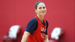 LAS VEGAS, NV - JULY 17: Sue Bird #6 of the USA Basketball Womens National Team smiles during USAB Womens National Team practice at the Mendenhall Center on July 17, 2021 in Las Vegas, Nevada.