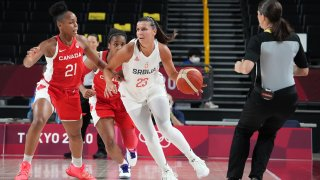 Jul 26, 2021; Saitama, Japan; Serbia player Ana Dabovic (23) dribbles while being defended by Canada player Nirra Fields (21) during the Tokyo 2020 Olympic Summer Games at Saitama Super Arena.