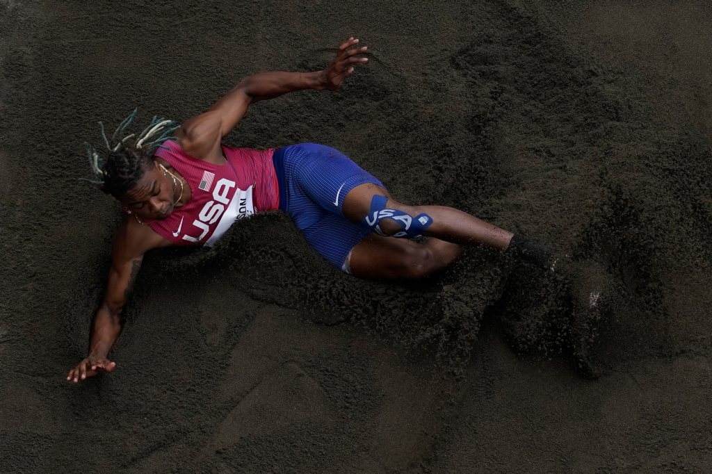 Juvaughn Harrison, of the United States, competes during the finals of the men's long jump at the 2020 Olympics, Monday, Aug. 2, 2021, in Tokyo, Japan.