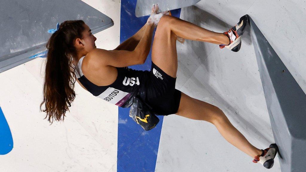 Brooke Raboutou climbs a sport climbing course