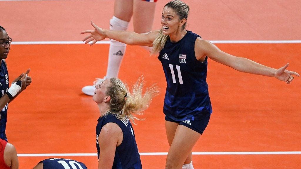 Annie Drews reacts vs. Serbia