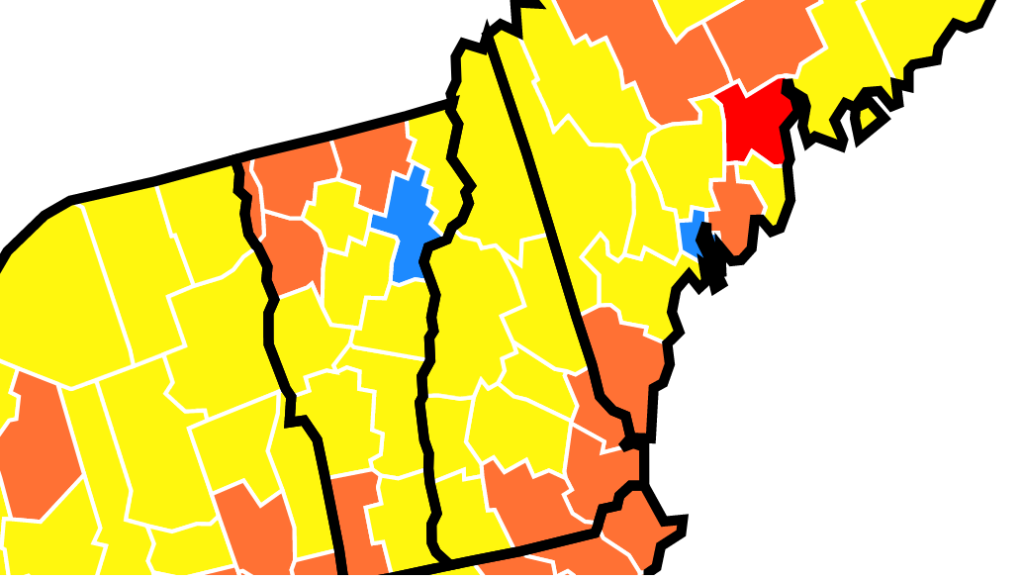 A map showing community transmission rates of COVID-19 in New Hampshire
