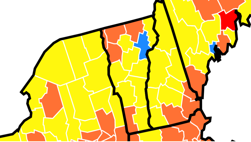 A map showing community transmission rates of COVID-19 in Vermont