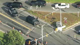 An aerial image of a crash in Wilmington, Massachusetts, that left a car and an SUV wrecked