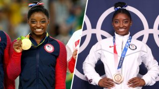Simone Biles poses with her gold medal for her floor performance during the Rio 2016 Olympics, left, and her bronze in balance beam, right, during the Tokyo Olympics on Aug. 3, 2021.