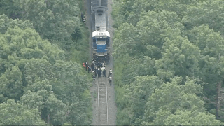 First responders at the scene of a train crash in Chelmsford, Massachusetts