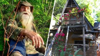"""David Lidstone, left, has lived off-the-grid in the woods along the Merrimack River in New Hampshire for almost three decades in a small cabin, right. Lidstone, known as """"River Dave"""" by local boaters and kayakers, was jailed on July 15 after he was accused of squatting on private land."""
