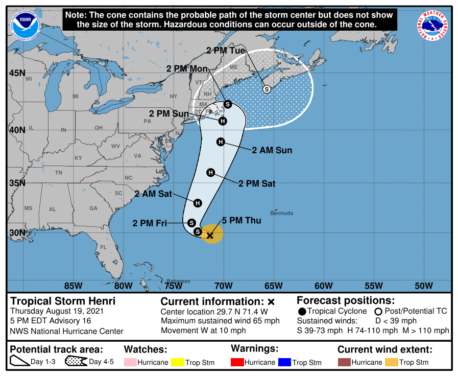The projected path of what's expected to be Hurricane Henri on its way to Boston, Massachusetts and New England.