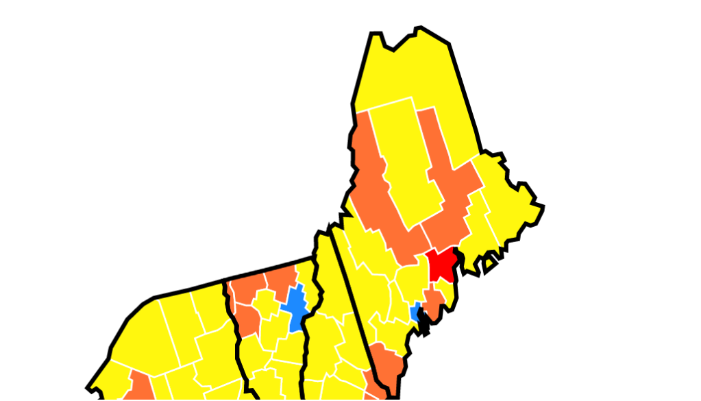 A map showing community transmission rates of COVID-19 in Maine