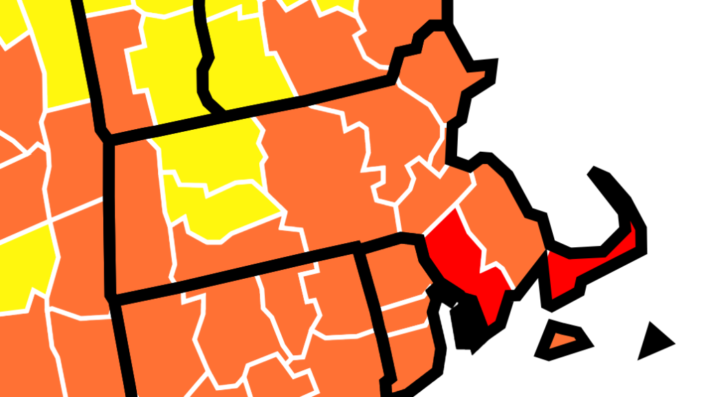 A map showing community transmission rates of COVID-19 in Massachusetts
