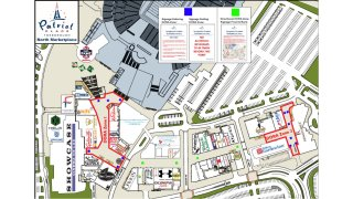 A map showing the designated outdoor refreshment areas at Patriot Place in Foxboro, Massachusetts.