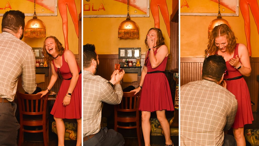 Matt Champlin proposes to Christine Corning at the Pour House, the Boston bar where they met.