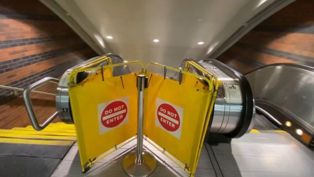 A blocked-off MBTA escalator in Boston