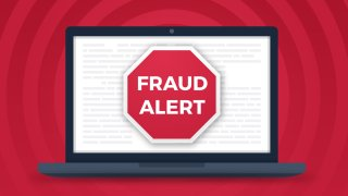 """An illustration of a computer screen saying """"fraud alert"""""""