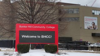 This Feb. 4, 2021, file photo shows the Bunker Hill Community College campus in Boston.