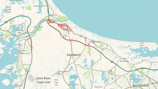 A snapshot of traffic leaving Cape Cod on Labor Day 2021.