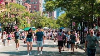 Open Newbury Street in Boston on Aug. 15, 2021.