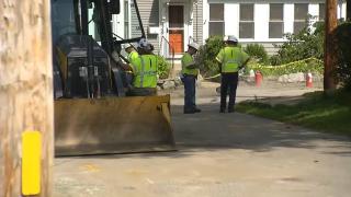 Eversource crews inspect a gas leak in Maynard, Massachusetts, Saturday, Sept. 4, 2021.