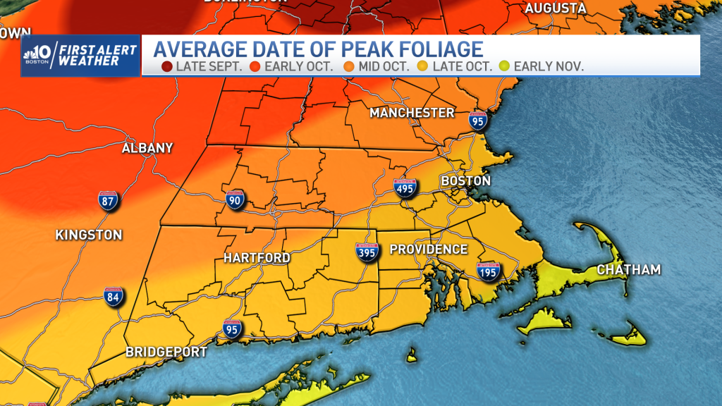 A map showing average peak foliage color change dates in Massachusetts, Rhode Island and Connecticut