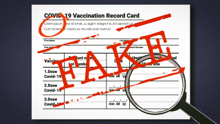 Photo illustration of a fake vaccination card