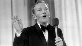 OSLO, NORWAY - AUGUST 30: US actor and singer Bing Crosby performs at the Momarkedet opening show with his orchestra in Oslo 30 August 1977.