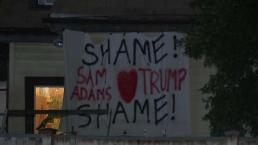 Neighbor Hangs Sign Near Sam Adams Brewery in JP