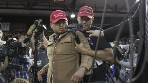 Trump Supporter Storms Media Pen at Texas Rally