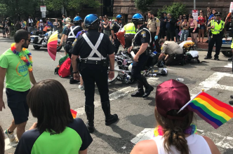 Police Crash Into Elderly Woman During Pride Event