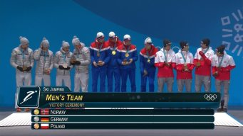 Medal Ceremony: Norway Receives Men's Large Hill Team Gold