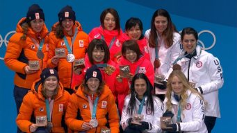 Medal Ceremony: Japan Collects Women's Team Pursuit Gold
