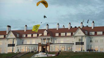 10,000 Protest Trump in Edinburgh; UK Police Seek Paraglider
