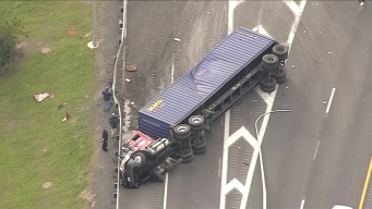 Crews Respond to Tractor-Trailer Rollover on Mass. Pike