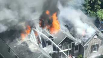 Crews Battle House Fire in Saugus